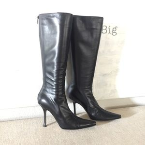 Jimmy Choi Black Leather Orchid Boots 8.5